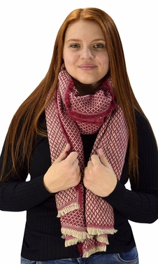 Maroon Plaid Tartan Herringbone Reversible Oversized Winter Blanket Scarf