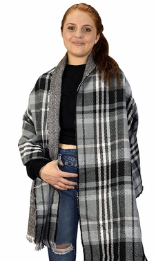 Grey Black 90 Plaid Tartan Herringbone Reversible Winter Blanket Scarf