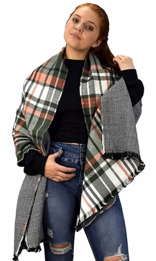 Plaid Tartan Herringbone Reversible Winter Blanket Scarf Hunter Green/Coral 90