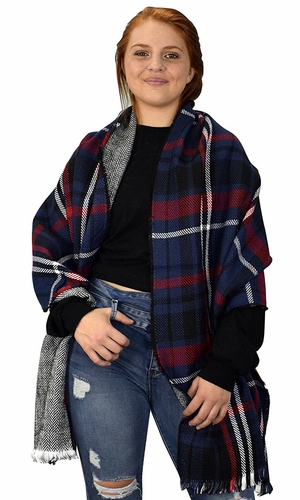 Navy Red 90 Plaid Tartan Herringbone Reversible Winter Blanket Scarf