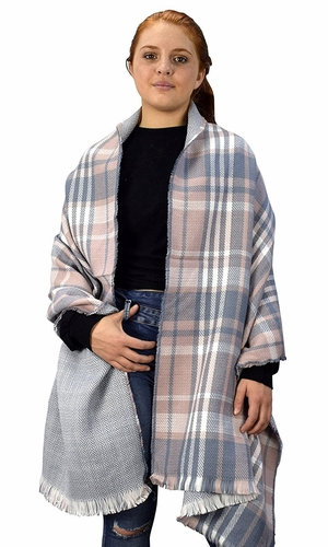 Pink Grey 90 Plaid Tartan Herringbone Reversible Winter Blanket Scarf