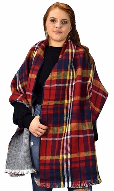 Red Navy 90 Plaid Tartan Herringbone Reversible Winter Blanket Scarf