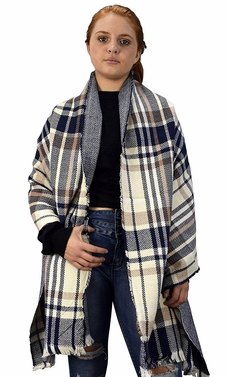 Plaid Tartan Herringbone Reversible Winter Blanket Scarf Tan/Navy 90