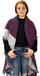 Navy Burgundy Plaid Tartan Oversized Oblong Cashmere Feel Oblong Blanket Scarves