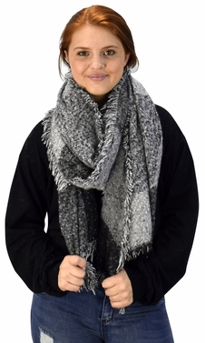 Black Grey Plaid Tartan Oversized Oblong Cashmere Feel Oblong Blanket Scarves