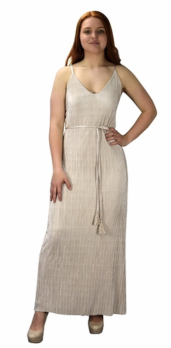 Pleated Fabric Waist Tie Perfect Shiny Cocktail Evening Maxi Dress - Beige