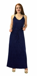 Navy Pleated Fabric Waist Tie Perfect Shiny Cocktail Evening Maxi Dress