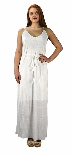 White Pleated Fabric Waist Tie Perfect Shiny Cocktail Evening Maxi Dress