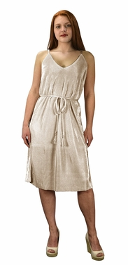 Beige Pleated Fabric Waist Tie Perfect Shiny Cocktail Evening Midi Dress