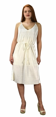 Cream Pleated Fabric Waist Tie Perfect Shiny Cocktail Evening Midi Dress