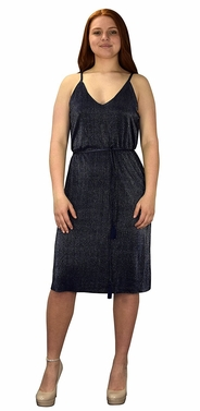 Navy Pleated Fabric Waist Tie Perfect Shiny Cocktail Evening Midi Dress