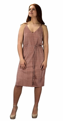 Rose Pleated Fabric Waist Tie Perfect Shiny Cocktail Evening Midi Dress