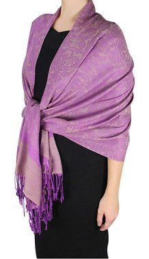 Plum Reversible Double Layer Hues of Purple Jacquard Paisley Pashmina Shawl