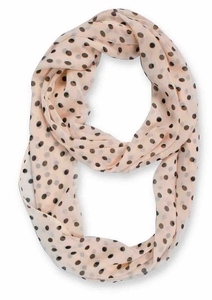 Polka Dot Infinity Loop Scarf - Black / Tan