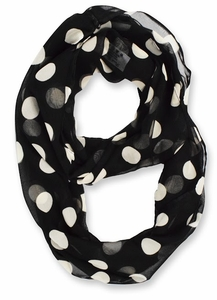 Polka Dot Infinity Loop Scarf - Black / White