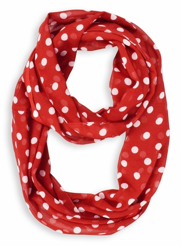 Red White Polka Dot Infinity Loop Scarf