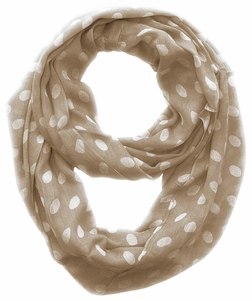 Polka Dot Infinity Loop Scarf - Taupe / White