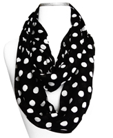 Polka Dot Lightweight Black and White Infinity Circle Scarf