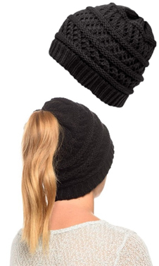 Black Ponytail High Bun Crochet Beanie Hats