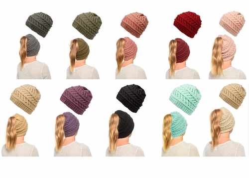 Ponytail High Bun Crochet Beanie Hats