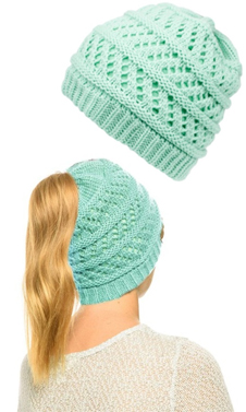 Baby Blue Ponytail High Bun Crochet Beanie Hats