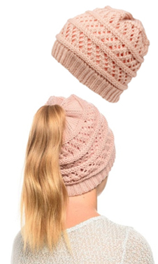 Baby Pink Ponytail High Bun Crochet Beanie Hats