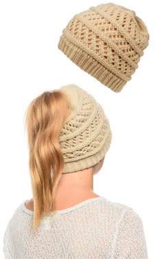 Beige Ponytail High Bun Crochet Beanie Hats