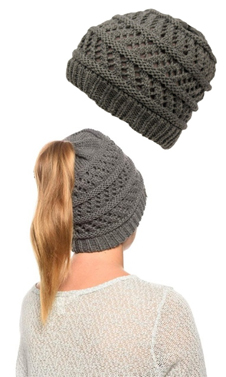 Grey Ponytail High Bun Crochet Beanie Hats