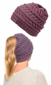 Mauve Ponytail High Bun Crochet Beanie Hat