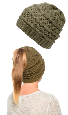 Olive Ponytail High Bun Crochet Beanie Hats