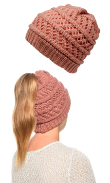 Pink Ponytail High Bun Crochet Beanie Hats