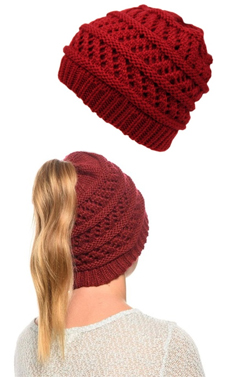 Red Ponytail High Bun Crochet Beanie Hats