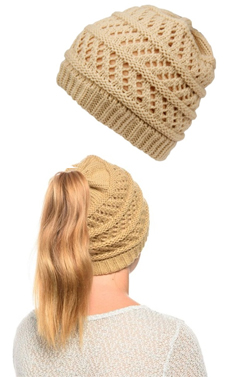 Tan Ponytail High Bun Crochet Beanie Hats