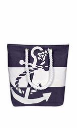 Purple Summer Anchor Print Canvas Bags Beach Totes Handbags