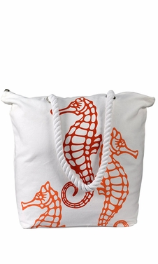 Orange Nautical Seahorse Cotton Canvas Beach Handbags Purses Tote Bags Laundry Bags
