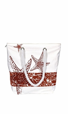 Red Nautical Starfish Bags Pure Cotton Canvas Hobo Handbags Purses Tote Bags