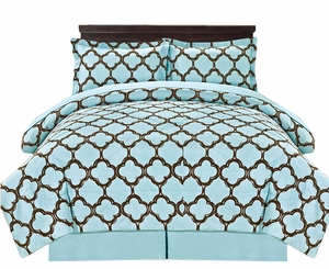 Blue Reversible Fretwork Print Elegant Comforter Bed in Bag 8 piece Set with Alternative Pillow shams and Pillowcases Queen