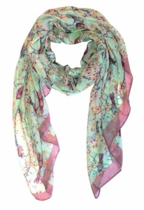 Pretty Vintage Floral Blossom Hummingbird Print Light Sheer Scarves - Green