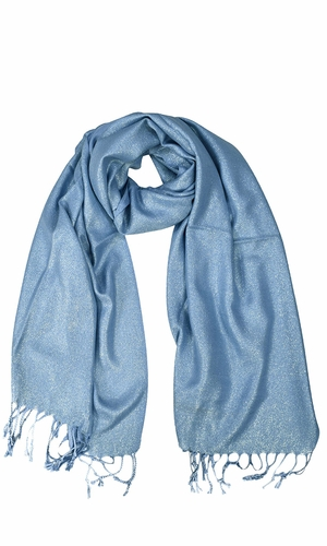 Princess Shimmer Scarf Pashmina Shawl with Fringes Baby Blue