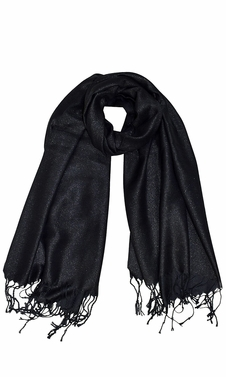 Black Shimmer Scarf Pashmina Shawl with Fringes Black