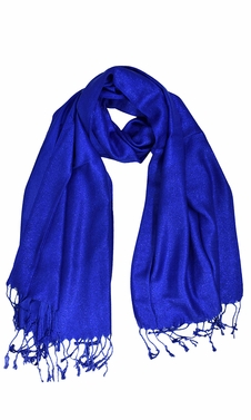 Blue Princess Shimmer Scarf Pashmina Shawl with Fringes