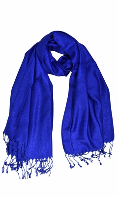 6ae49f7e17a Blue Shimmer Scarf Pashmina Fringes Shawl for women Online