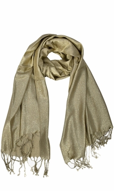 Gold Princess Shimmer Scarf Pashmina Shawl with Fringes