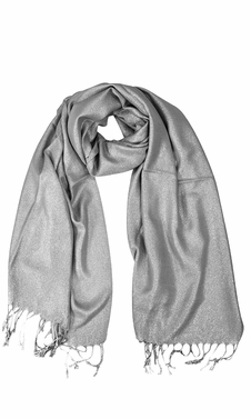 Grey Shimmer Scarf Pashmina Shawl with Fringes