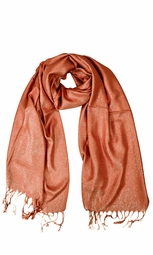 Orange Shimmer Scarf Pashmina Shawl with Fringes
