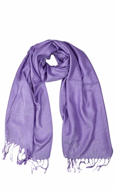 Purple Shimmer Scarf Pashmina Shawl with Fringes
