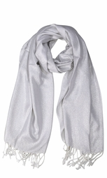 Princess Shimmer Scarf Pashmina Shawl with Fringes White