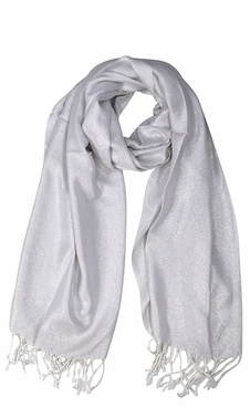 White Princess Shimmer Scarf Pashmina Shawl with Fringes
