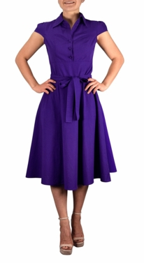 Purple Retro 100% Cotton Button Up Tea Party Swing Vintage Dress Fabric Belt