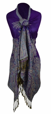 Purple Vintage Persian Paisley Printed Solid Pashmina Shawl Scarf